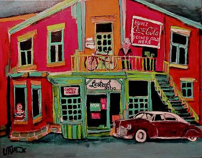 Painting - Bistro In Lachine On Notre Dame by Michael Litvack