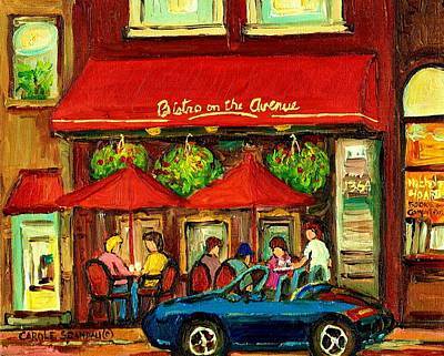 Streetscenes Painting - Bistro On Greene Avenue In Montreal by Carole Spandau