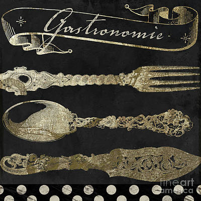 French Cafe Bistro Painting - Bistro Parisienne Gastronomie Gold by Mindy Sommers