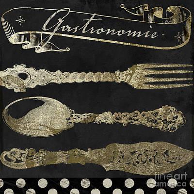 Bistro Parisienne Gastronomie Gold Art Print