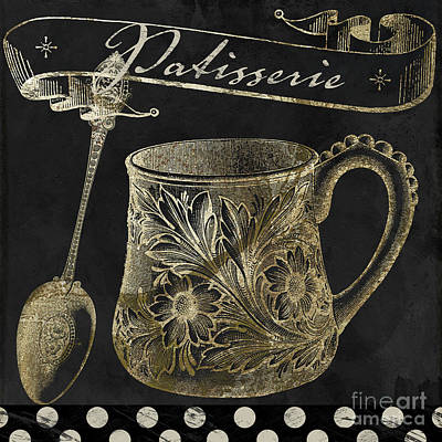 Utensil Painting - Bistro Parisienne Patisserie Gold by Mindy Sommers