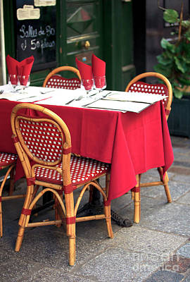Table Wine Photograph - Bistro Table by John Rizzuto
