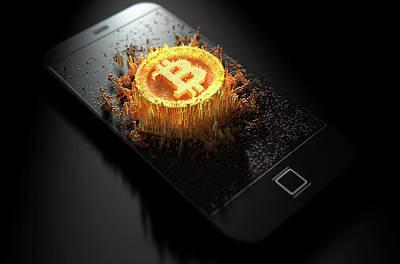 Virtual Digital Art - Bitcoin Cloner Smartphone by Allan Swart