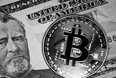 Exchange Rate Photograph - Bitcoin With Us Dollars Cash by Joe Fox