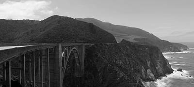 Photograph - Bixby Bridge Big Sur Panorama Bw by David Gordon