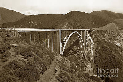 Photograph - Bixby Creek Aka Rainbow Bridge Bridge Big Sur Photo  1937 by California Views Archives Mr Pat Hathaway Archives