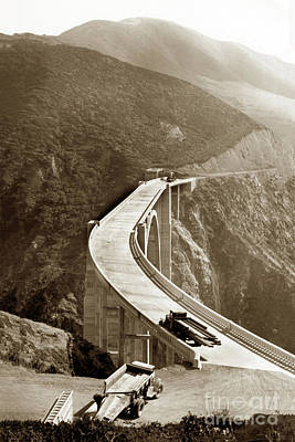 Photograph - Bixby Creek Bridge, Big Sur October 1932 by California Views Mr Pat Hathaway Archives
