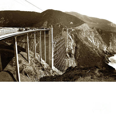 Photograph - Bixby Creek Bridge Big Sur Calif. 1974 by California Views Mr Pat Hathaway Archives