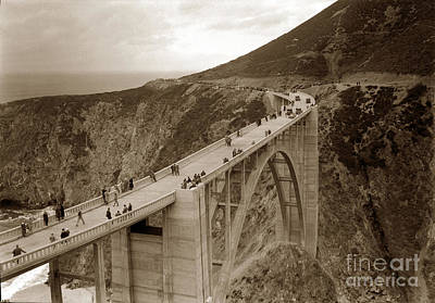 Photograph - Bixby Creek Bridge Big Sur Opening Day November 27 1932 by California Views Mr Pat Hathaway Archives