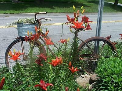 Biycle Flowers Art Print