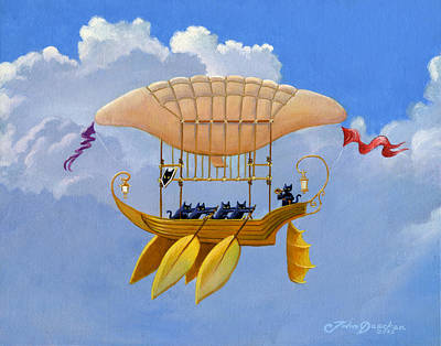 Oars Painting - Bizarre Feline-powered Airship by John Deecken