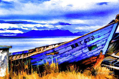 Photograph - Bkue Boat by Rick Bragan