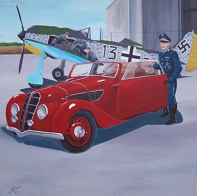 Painting - Black 13 Bmw 327 by Gene Ritchhart