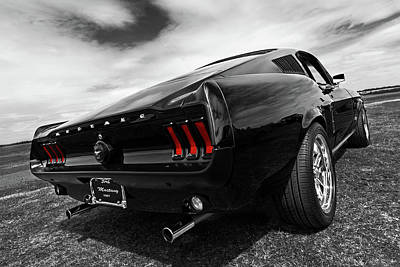 Classic Mustang Car Photograph - Black 1967 Mustang by Gill Billington
