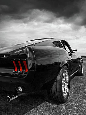 Photograph - Black 1967 Mustang Rear by Gill Billington