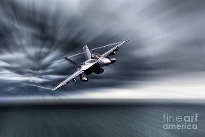 F-18 Digital Art - Black Aces Hornet  by J Biggadike