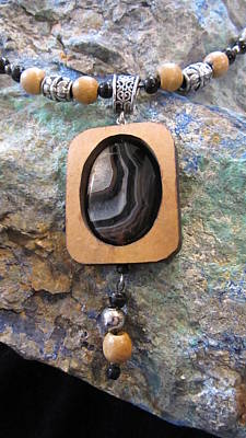 Jewelry - Black Agate Set In Gourd Wood by Barbara Prestridge