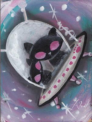 Pop Surrealism Painting - Black Alien Space Cats by Abril Andrade Griffith