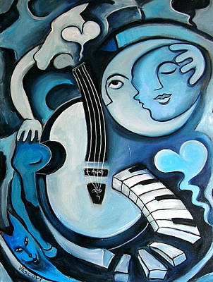 Cello Painting - Black And Bleu by Valerie Vescovi