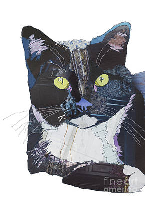 Digital Art - Black And Blue Cat by Catherine Kleeli