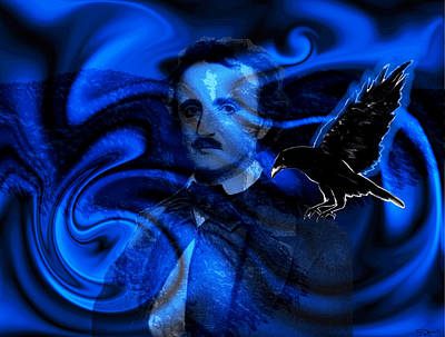 Crow Photograph - Black And Blue Poe Tribute by Abstract Angel Artist Stephen K