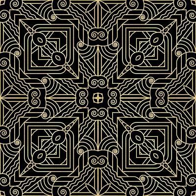 Digital Art - Black And Gold Art Deco Filigree 001 by Ruth Moratz