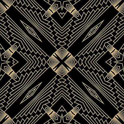 Digital Art - Black And Gold Art Deco Filigree 002 by Ruth Moratz