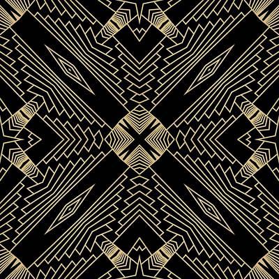 Digital Art - Black And Gold Art Deco Filigree 002 by Ruth Moratz