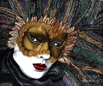 Mardi Gras Painting - Black And Gold Carnival Mask by Patty Vicknair