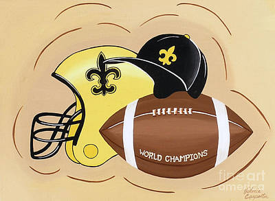 Black And Gold Champs Print by Valerie Carpenter