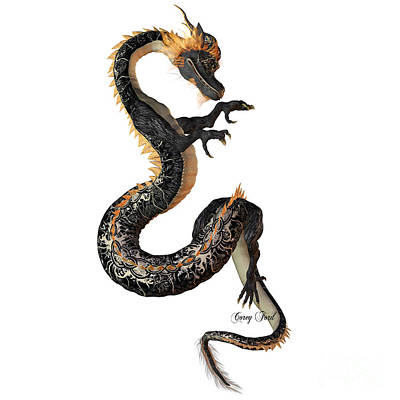 Black And Gold Dragon Art Print by Corey Ford