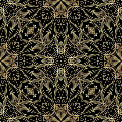 Digital Art - Black And Gold Filigree 001 by Ruth Moratz