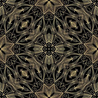 Digital Art - Black And Gold Filigree 001 by Ruth Moratz