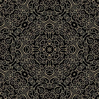 Black And Gold Filigree 002 Art Print