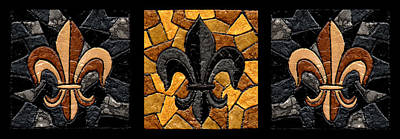 Sports Royalty-Free and Rights-Managed Images - Black and Gold Fleur de Lis Triptych by Elaine Hodges