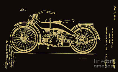 Photograph - Black And Gold Harley Motorcycle Patent 1924 by John Stephens
