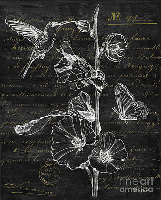 Pen And Ink Drawing Painting - Black And Gold Hummingbirds 2 by Debbie DeWitt