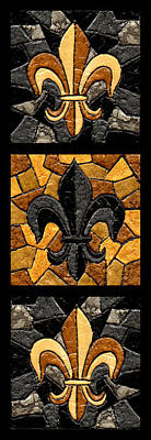 Sports Paintings - Black and Gold Triple Fleur de Lis by Elaine Hodges