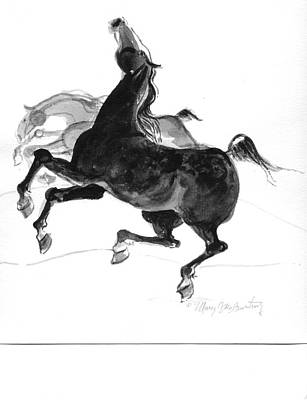 Art Print featuring the drawing Black And Gray by Mary Armstrong