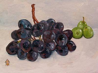 Concord Grapes Painting - Black And Green Grapes by Carol Roberts booth