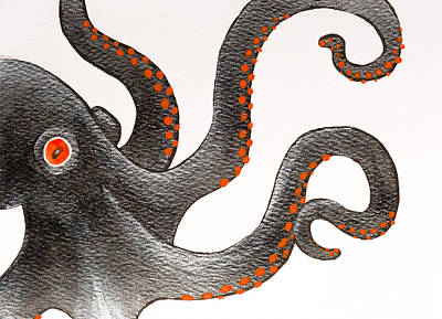 Painting - Black And Orange Octopus by Stefanie Forck