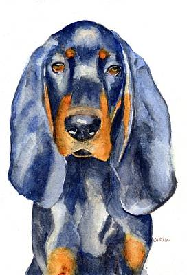 Painting - Black And Tan Coonhound Dog by Carlin Blahnik CarlinArtWatercolor