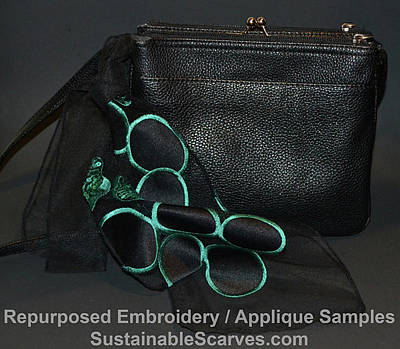 Photograph - Black And Turquoise Applique Small Purse Scarf by Heather Kirk