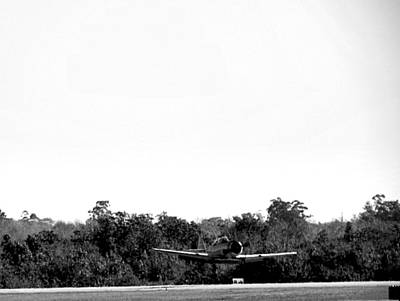 Airplane Photograph - Black And White A-6 Texan Touch And Go  by Chris Mercer