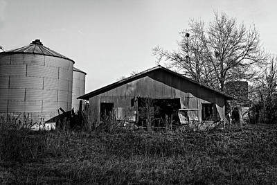 Photograph - Black And White Abandoned Barn by Maggy Marsh