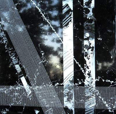 Collage Painting - Black And White Abstract by Louise Adams