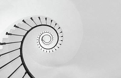 Black Photograph - Lighthouse Staircase - Black And White Abstract Art by Wall Art Prints