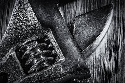 Photograph - Black And White Adjustable Spanner Macro by John Williams