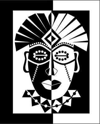 Voodo Digital Art - Black And White African Mask by Karolina Perlinska