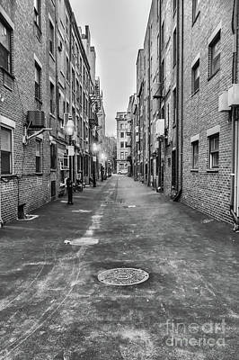 Photograph - Black And White Alley In Boston by Elizabeth Dow